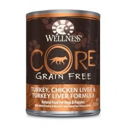 Wellness 寵物健康 - CORE 無穀物火雞、雞肝拼火雞肝狗罐頭 - 12.5 安士