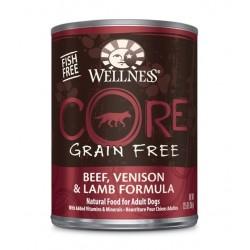 Wellness 寵物健康 - CORE 無穀物牛肉、鹿肉拼羊肉狗罐頭 - 12.5 安士