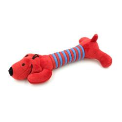 Billipets - 長粗綿繩臘腸狗發聲玩具 - 紅色