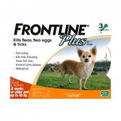 FRONTLINE - Plus 犬用殺蚤除牛蜱滴頸藥水 (10 公斤以下適用) - 3 管