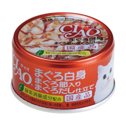 CIAO - 吞拿魚、吞拿魚乾、吞拿魚湯底貓罐頭 - 85 克