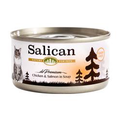 Salican - 鮮雞肉三文魚配方貓罐頭 (清湯) - 85 克