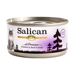 Salican - 鮮雞肉牛肉配方貓罐頭 (清湯) - 85 克